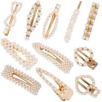Exacoo 11 Pcs Pearls Hair Clips, Handmade Decorative Hair Pins Hair Barrettes Hairpins for Women Lady