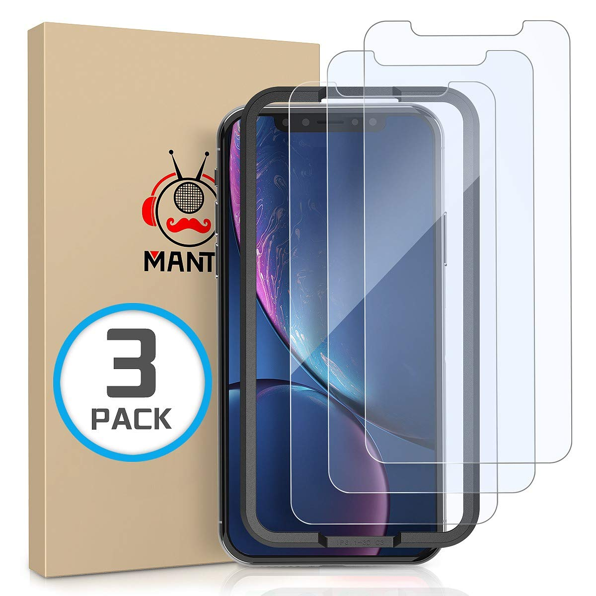 MANTO 3 Pack Screen Protector for iPhone 11 and iPhone XR 6.1 Inch Tempered Glass Protector Film Anti Fingerprint, Case Friendly, Clear