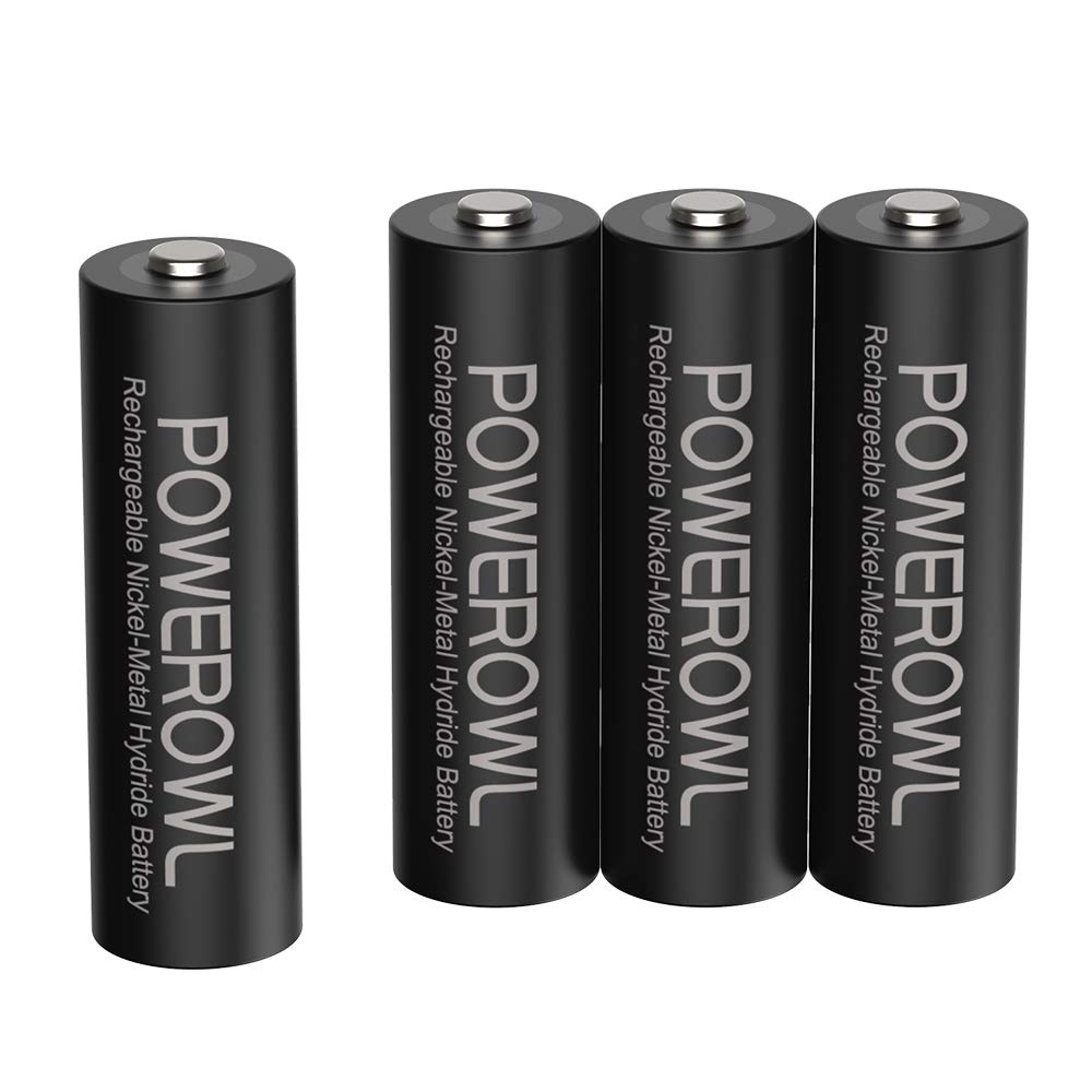 POWEROWL Rechargeable AA Batteries,2800mAh High Capacity Batteries 1.2V NiMH Low Self Discharge Pack of 4