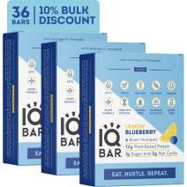 IQBAR Brain + Body Protein Bars, Lemon Blueberry, Keto, Vegan, Paleo Friendly, Low Sugar, Low Net Carb, High Fiber, Gluten Free, No Sugar Alcohols, 36 Count
