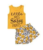 Toddler Girl Outfits 2Pcs Miss Sassy Tank Tops Floral Shorts Set Clothes