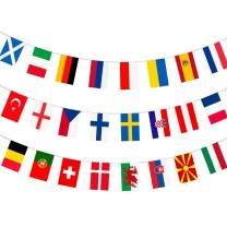 AhfuLife European Football Championship Euro 2021 Fabric Bunting, All 24 Participating Teams Flags Bunting for Garden, Bar, Restaurant and Party Decoration (1 Pack, 14x21 cm- 8.5m)