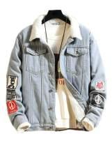 Lavnis Men's Denim Distressed Jacket Casual Button Down Trucker Jacket Jean Coat