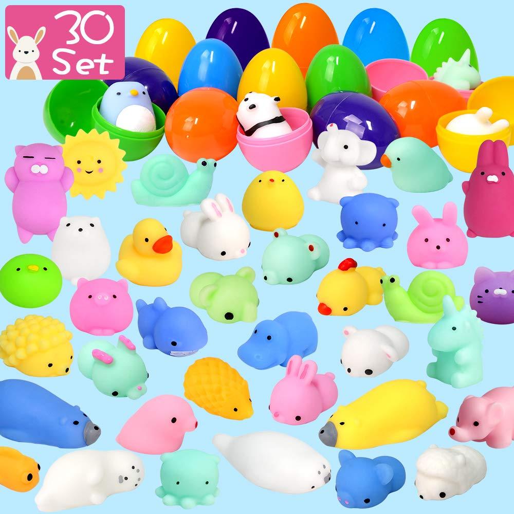 LUDILO 30Pcs Easter Eggs + 30Pcs Mochi Squishy Toys Easter Basket Stuffers Easter Egg Fillers Easter Toys Mini Squishies Party Favors for Kids Animal Squishys Surprise Egg Hunt Gifts, Random