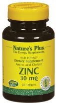 NaturesPlus Zinc Tablets - 30 mg, 90 Vegetarian Tablets - Immune System Supplement for Cellular Growth & Repair - Promotes Healthy Digestion, Metabolism & Vision - Gluten-Free - 90 Servings