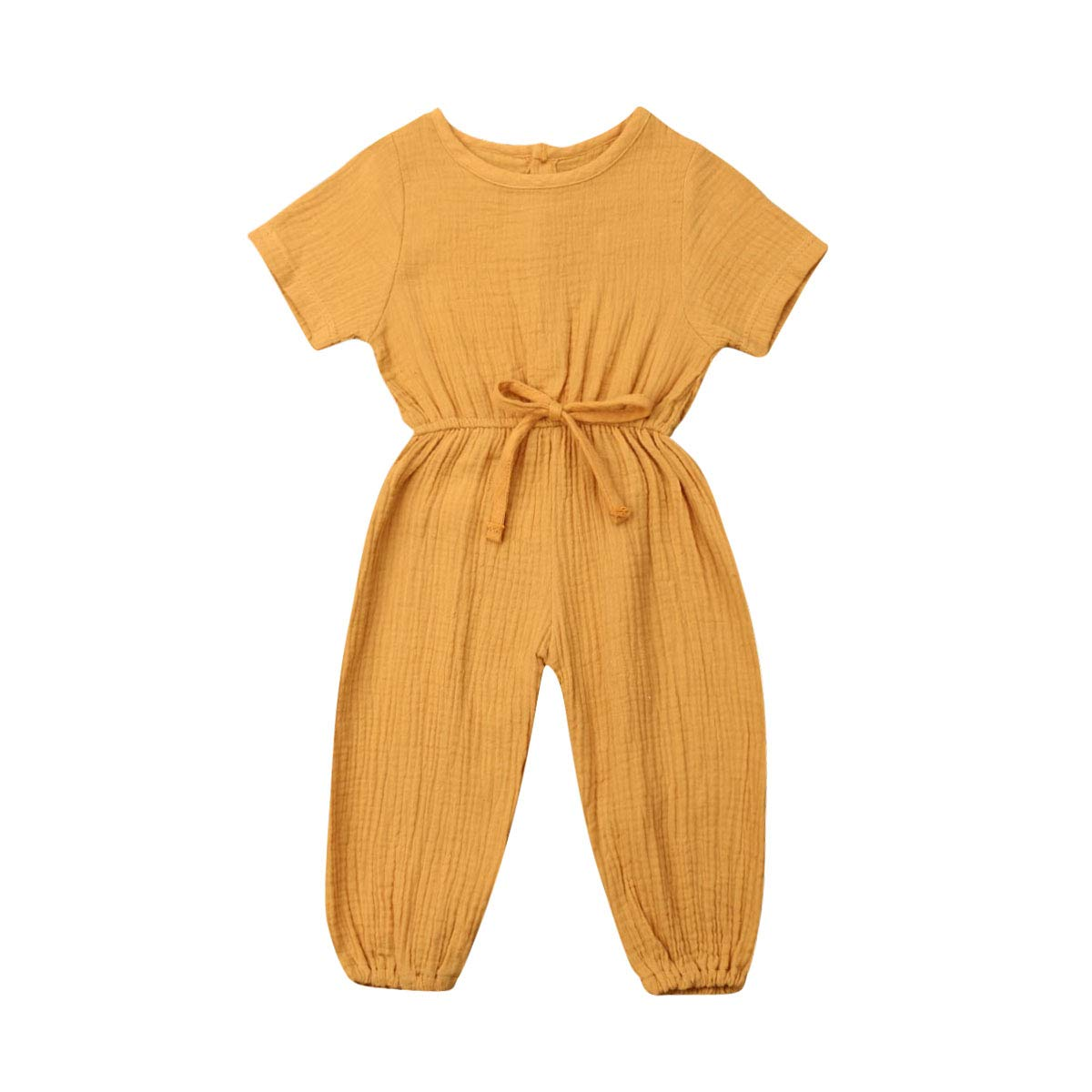 Mubineo Toddler Baby Girl Summer Fall Basic Plain Short Sleeve Cotton Linen Drawstring Romper Jumpsuit