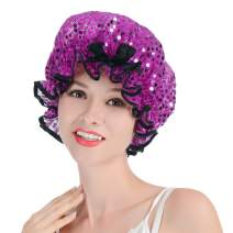 Shower Cap, Syscudo Collection Waterproof Swim Caps Advanced Bathing Caps with Shining Deco Dots, Made of PE (1 Pack, Purple)