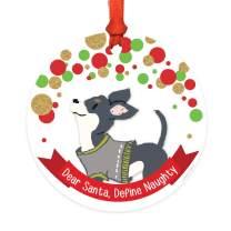 Andaz Press Dog Round Metal Christmas Ornament Gift, Black Jacket Chihuahua, Dear Santa Define Naughty, 1-Pack, Novelty Birthday Ideas for Dog Lovers