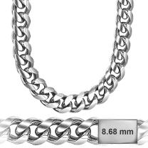 Miami Cuban Link Sterling Silver 8.6mm Chain, Solid & Heavy, Platinum Plated, Hand Made in Italy, Secure LinxLock Design, Necklace and Bracelet Sold Individually