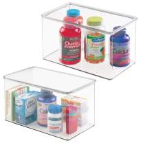 """mDesign Stackable Bathroom Storage Box with Lid - Container for Organizing Hand Soaps, Body Wash, Shampoos, Conditioners, Hand Towels, Hair Accessories, Body Spray - 7"""" High, 2 Pack - Clear"""