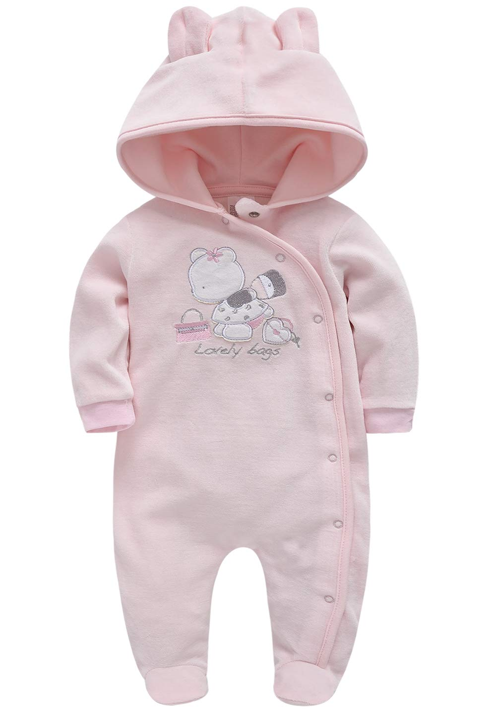 Fanient Baby Girls Boys Pajamas One-Piece Snug Fit Footed Sleep and Play Newborn Long Sleeve Zip Non-Slip Sleepers