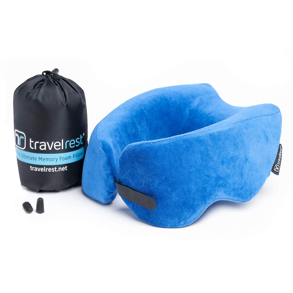 Travelrest NEST Patented Ultimate Memory Foam Travel Pillow/Neck Pillow - Washable Cover - Voted Best Travel Pillow for 2020 by Wirecutter - Compresses to 1/4 of its Size (2 Year Warranty)(Blue)