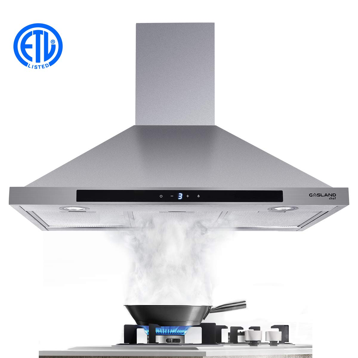 """36"""" Range Hood, GASLAND Chef PR36SS 36-inch Stainless Steel Wall Mount Kitchen Hood, 3 Speed 450-CFM Sensor Touch Control Exhaust Hood Fan, Convertible Chimney-Style, LED Lights, Aluminum Mesh Filters"""