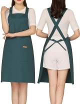Bib Cross Back Aprons with 2 Pockets Cotton for Women,Butcher,Hairstylist Fits for Grill,bbq,Paint Deep Green
