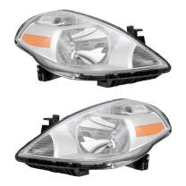 Brock Replacement Pair Set Halogen Combination Headlights Headlamps Compatible with 07-11 Versa 26060-EM30A 26010-EM30A