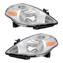 Brock Replacement Pair Set Halogen Combination Headlights Headlamps Compatible with 07-11 Versa 26060-EM30A 26010-EM30A