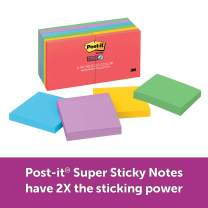 Post-it Super Sticky Notes, 2x Sticking Power, 3 in x 3 in, Marrakesh Collection, 12 Pads/Pack (654-12SSAN)