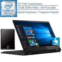 "2020 Lenovo Flex 14 2-in-1 14"" FHD Touchscreen Laptop Computer, Intel Quad-Core i5-8265U Up to 3.4GHz (Beats i7-7500U), 12GB DDR4 RAM, 1TB PCIe SSD, Windows 10, YZAKKA 500GB External Hard Drive"
