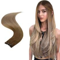 Easyouth Weft Bundles 16inch 80g Per Package Balayage Color 10 Fading to 14 Great Lengths Hand Tied Hair Extensions Real Weft Hair Sew in Extensions