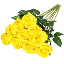 Nubry Artificial Silk Rose Flower Bouquet Lifelike Fake Rose for Wedding Home Party Decoration Event Gift 10pcs (Yellow)