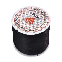 1 Roll 60M Crystal Stretch Elastic Craft Bracelet Beads Thread String Cords for DIY Jewelry Making 0.3mm×1mm×60m Black