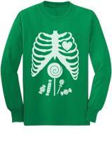 Halloween Skeleton Candy Rib Cage Children Funny X-ray Long Sleeve Kids Tshirt