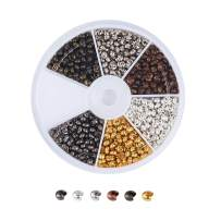 Pandahall 6 Colors Iron Column Crimp Beads Knot Covers 3mm Cadmium Free & Lead Free & Nickel Free for DIY Jewelry Making(About 534pcs/box)