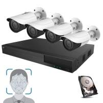HDView Facial Recognition Camera System, 8 Channel Security NVR 8 PoE Ports with Night Vision Network Security Camera Kit, Facial Time Attendance System, Video Analytics, Commercial Grade