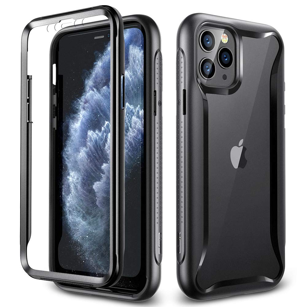 """ESR Fusion Shield 360 Designed for iPhone 11 Pro Max Case, [Rugged Clear Full-Body Bumper Case] [Built-in Screen Protector] [Shock-Absorbing] [All-Around 360-Degree Coverage] for iPhone 6.5"""", Black"""