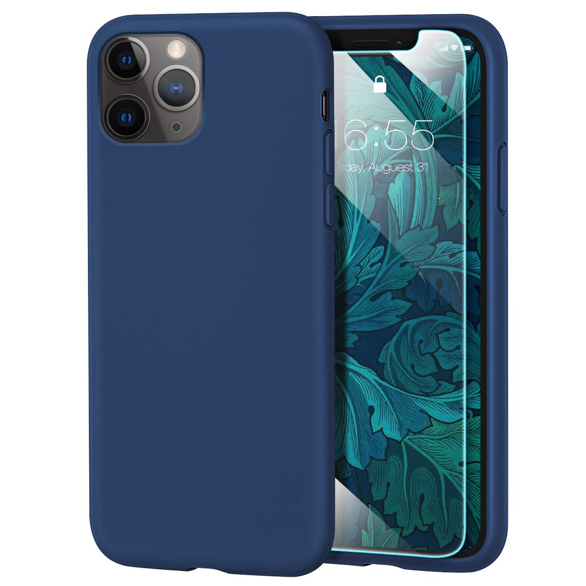 MILPROX iPhone 11 Pro Max Case with Screen Protector, Liquid Silicone Gel Rubber Shockproof Slim Shell, Soft Microfiber Cloth Lining Cushion Cover for iPhone 11 Pro Max 6.5 inch (2019)-Blue Horizon