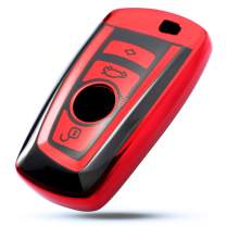 VANZAVANZU for BMW Key Fob Cover, Soft TPU Smart Key Fob Case Holder Sleeve Car Key Chain for BMW 1 3 4 5 6 7 Series BMW X3 X4 M2 M3 M4 M5 M6 (Red Cover)