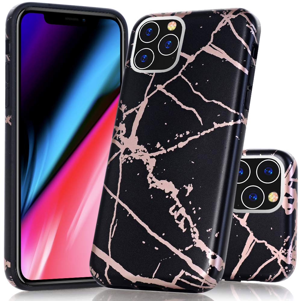 BAISRKE iPhone 11 Pro Case, Shiny Rose Gold Marble Design Bumper Matte TPU Soft Rubber Silicone Cover Phone Case for iPhone 11 Pro 5.8 inch 2019 - Black Marble
