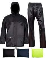 Rain Jacket with Pants for Men Women Waterproof Rain Coat 3-Pieces Ultra-Lite Suits (XXX-Large, Black)