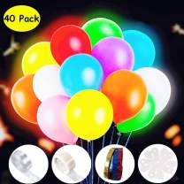 Kiralumi Party LED Balloons Flashing 40 Pieces, LED Light Up Balloons Assorted Colors Luminous Balloons, Switch-3 Flashing Light Modes, Lasts 12-24 Hours for Glow in the Dark Party Supplies, Birthday Decorations, Halloween Party