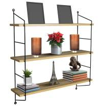 Sorbus Floating Shelf with Metal Brackets — Wall Mounted Rustic Wood Wall Storage, Decorative Hanging Display for Trophy, Photo Frames, Collectibles, and Much More (3-Tier – Maple)