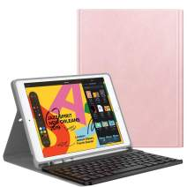 Dadanism Keyboard Case Fit New iPad 10.2 2019 (7th Generation), Detachable Wireless Bluetooth Keyboard Stand, PU Leather Cover Case with Pencil Holder Fit iPad 10.2 inch 2019 Tablet - Rose Gold