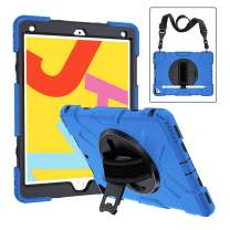 New iPad 10.2 Case with Pencil Holder, CASZONE Heavy Duty Shockproof Rugged Protective Covers for iPad 7th Generation 2019 10.2 inch with 360 Rotating Kickstand Adjustable Hand/Shoulder Strap, Blue
