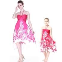 Matching Hawaiian Luau Mother Daughter Halter Dress in Pink Indri