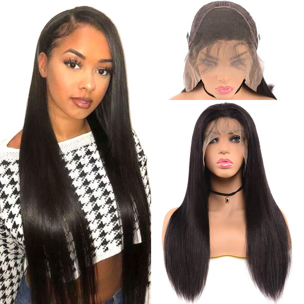 Goldfinch Straight Human Hair Lace Front Wig 12 inches Brazilian Remy Virgin Hair Straight 13x4 Lace Front Wig for Black Women 130% Density Glueless Wig with Baby Hair Nature Hairline
