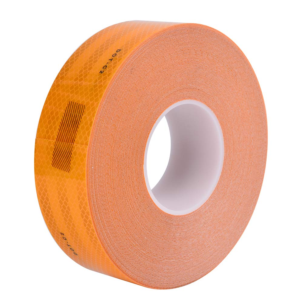 """BRIGHT PLUS LIGHT & SAFETY Brightplus 2"""" x 150' DOT Conspicuity Tape Dot Class 2 Reflective Tape Roll Adhesive Sticker for Cars, Trucks, Trailers, RV's, Campers, Boats, or Mailboxes (Yellow)"""