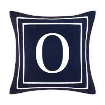 Fascidorm Blue Pillow Cover English Alphabet O Throw Pillow Case Modern Cushion Cover Square Pillowcase Decoration for Sofa Bed Chair Car, Dark Blue, 18 x 18 Inch
