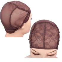 FU SHEN Large Wig Cap, Brown Double Lace Wig Caps for Making Wigs with Adjustable Straps and Combs, Glueless Wig Cap for Big Head for Women(Brown, 2 Pcs L)