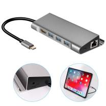 USB C Hub Stand for iPad Pro 2018 USB HDMI Headphone Ethernet Charger Adapter Docking Station Compatible with MacBook/Pro MacBook Air 2018 Samsung S10/S9 Cool Gadgets