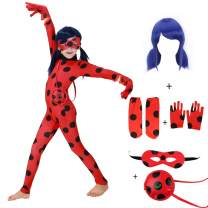 Girls Costume Dress Up CosplayBlack SpotRed Suit with Blue Hair for Halloween Birthday