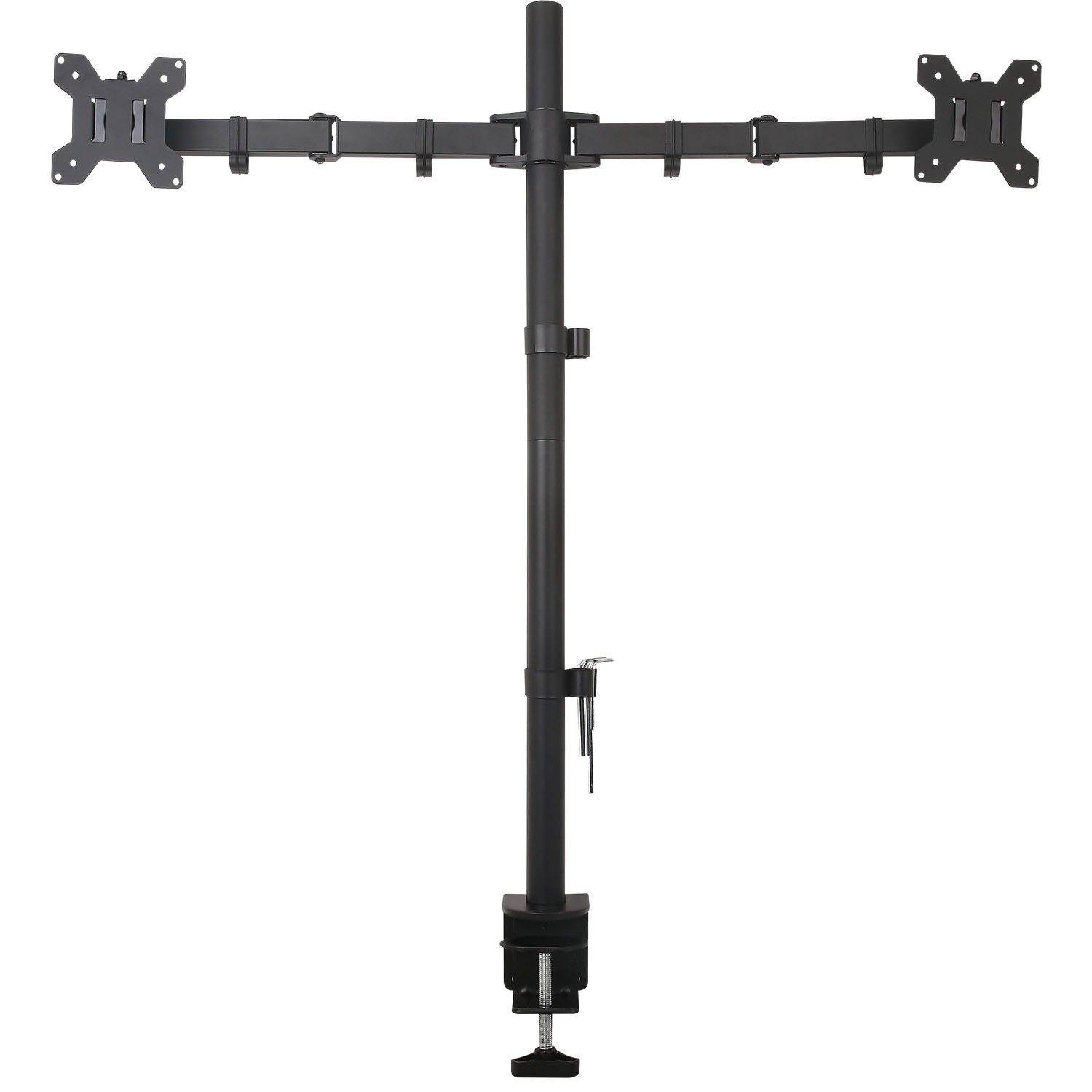 WALI Extra Tall Dual LCD Monitor Fully Adjustable Desk Mount Fits 2 Screens up to 27 inch, 22 lbs. Weight Capacity per Arm (M002XL), Black