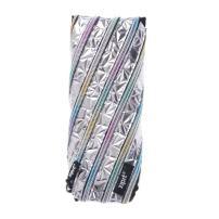 ZIPIT Metallic Pencil Case/Cosmetic Makeup Bag, Silver-Rainbow