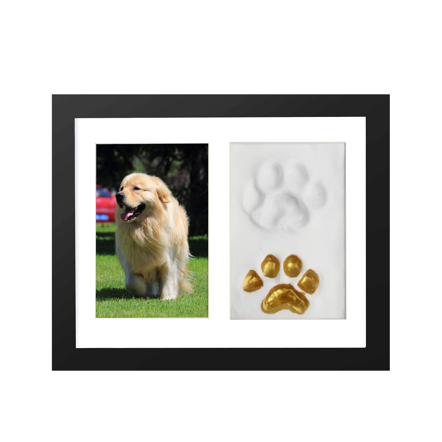 ONE WALL Pet Pawprint Keepsake Kit, 4x6 Inch Pet Memorial Picture Frame Paw Print Imprint Kit with Clay for Dog or Cat, Black