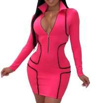 LightlyKiss Womens Sexy Deep V Neck Zipper Front Bodycon Mini Club Plus Size Dresses