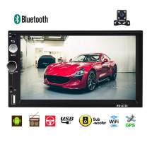Double Din Car Stereo-Car GPS Navigation Radio 7 Inch Touch Screen Car Audio Android Car Multimedia Player Support Bluetooth WiFi USB FM + Rear Camera