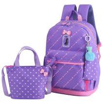 JiaYou Girls Cute Lunch Bag Purse/Pencil Bag School Backpack 3 Sets(20L,3# Purple)